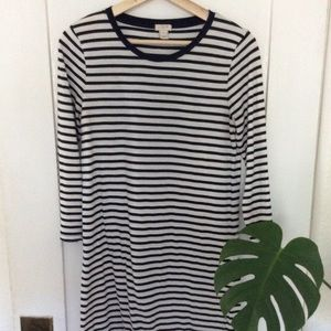J. Crew navy & white long sleeve dress